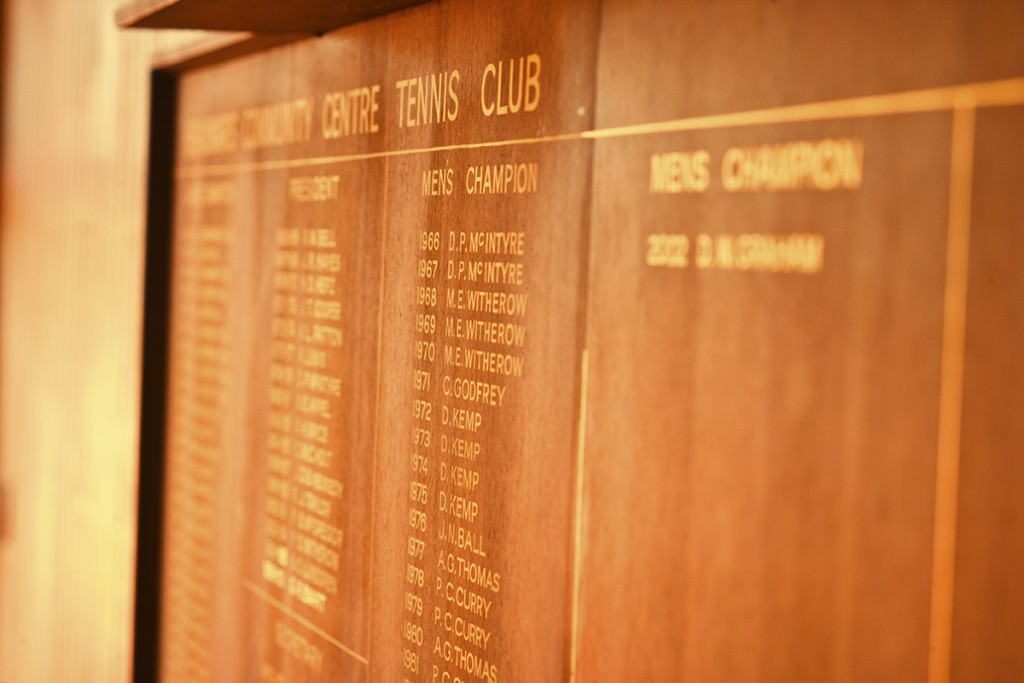 Our Honour Board displays 50 proud years of BCCTC Tennis