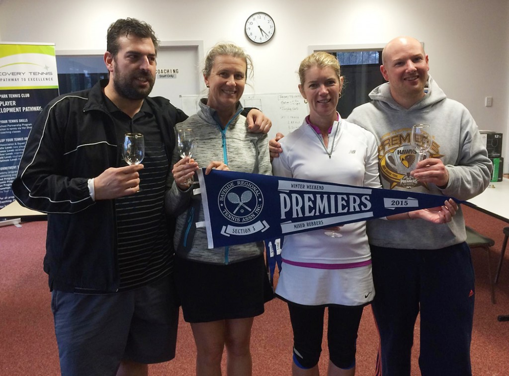 Saturday Mixed Rubbers Champions (from left): Spiro Papalas, Di Meek, Kellie Baker & Trevor Allwright.