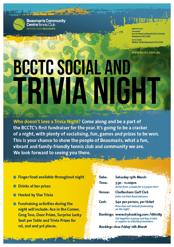 BCCTC Trivia Night - Saturday 19th March 2016
